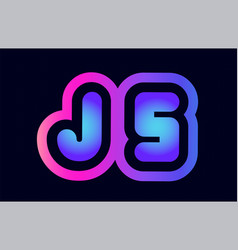 Js j s pink blue gradient alphabet letter logo vector