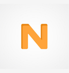 Letter n bold geometric font element modern vector