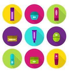 Lip balm tubes and jars flat icon set vector