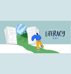 Literacy day open book door landscape web banner vector