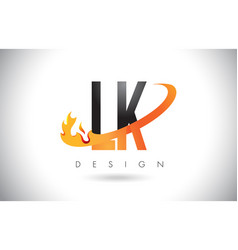 lk l k letter logo with fire flames design and vector image