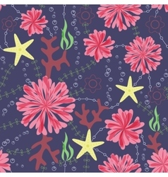 Marine flowers vintage seamless pattern on dark vector
