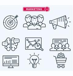 Marketing flat line icons training development vector