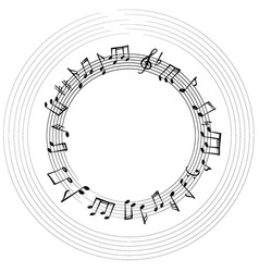 Music notes border musical frame background vector