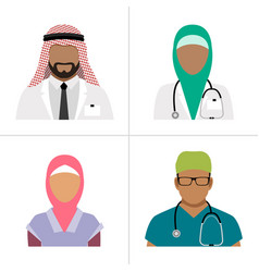 Muslim health care professionals vector