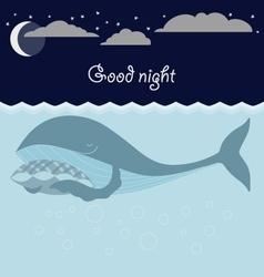 Ocean sleeping whales Good night card vector image