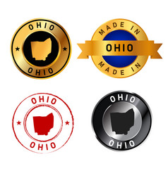 ohio badges gold stamp rubber band circle with map vector image