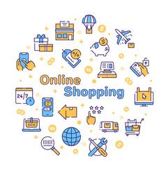 online shopping icons set on white background vector image