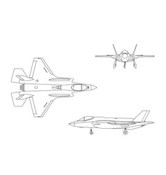 outline drawing military aircraft vector image