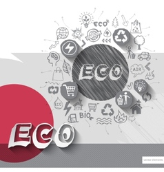 Paper and hand drawn eco emblem with icons vector