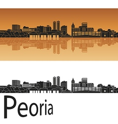 Peoria skyline in orange vector