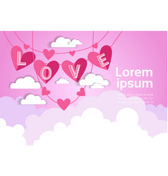 pink valentine day background with love decoration vector image
