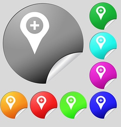 Plus map pointer gps location icon sign set of vector