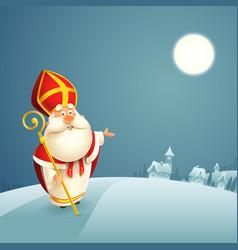 Saint nicholas theme - winter night landscape vector