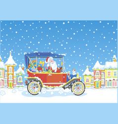 Santa claus driving his car with gifts vector