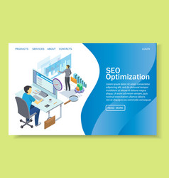Seo optimization website landing page vector
