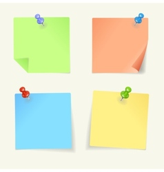 Set colour sticky notes with pin vector