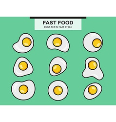 Set from the fried eggs of a different form vector image