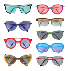 Set of fashionable sunglasses of different shapes vector