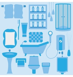 Set of furniture in bathroom vector image