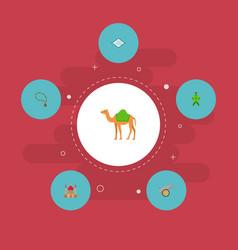 Set of ramadan icons flat style symbols with camel vector