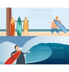 set surfer banners vector image