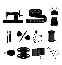 Sewing atelier black icons in set collection for vector