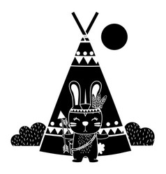Silhouette rabbit animal with arrows and camp vector