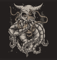 skull kraken monster vector image