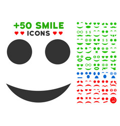 smile icon with bonus emotion collection vector image