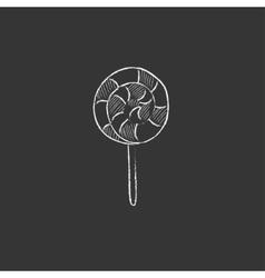 Spiral lollipop Drawn in chalk icon vector