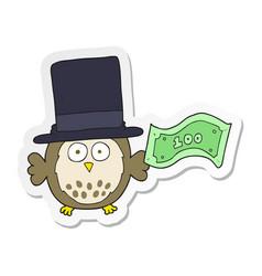 Sticker of a cartoon rich owl vector