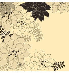 stylish floral beige background vector image