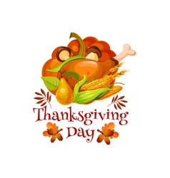 Thanksgiving day poster for autumn holiday design vector