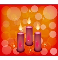 Three Candles on A Red Abstract Background vector image