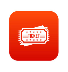 ticket icon digital red vector image