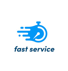 Time clock logo fast service stopwatch vector