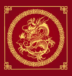 Traditional chinese golden dragon on red vector