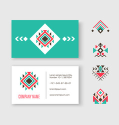 Tribal logo business card vector