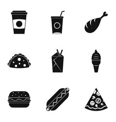 Unhealthy food icon set simple style vector