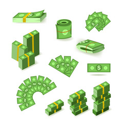 Wads stacks rolls and piles of dollar banknotes vector