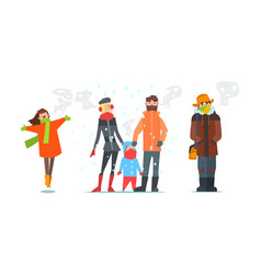 Warmly dressed people winter time vector