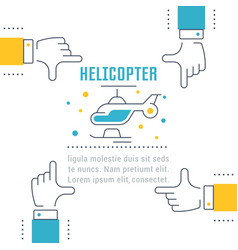 Website banner and landing page helicopter vector