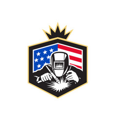 Welder arc welding usa flag crest retro vector