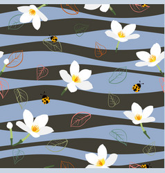 White flowers seamless pattern on wavy background vector