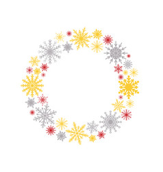 wreath with snowflakes new year christmas frame vector image