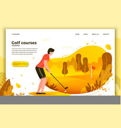 Young sporty man playing golf vector