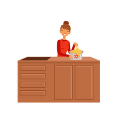 Young woman kneading dough housewife girl cooking vector