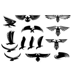 Eagle falcon and hawk birds set vector image