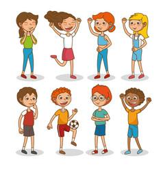 set of happy kids cartoon vector image vector image